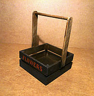 Ящик деревянный с ручкой под цветы, черный с коричневым, 19,5х18х27 см