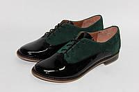 Женские туфли на шнурках, натуральная кожа + замш, фото 1