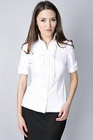 Блуза с воротником-стойка  и рюшами по планке Р76, фото 1