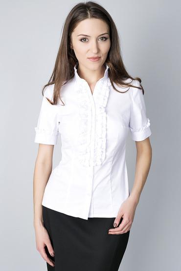 Блуза с воротником-стойка  и рюшами по планке Р76