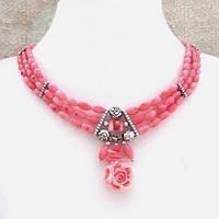 Колье, серьги - розовый коралл