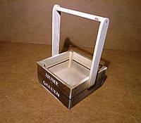 Ящик деревянный с ручкой под цветы, коричневый с белым, 19,5х18х27 см