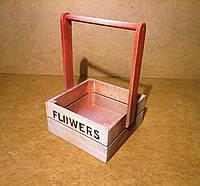 Ящик деревянный с ручкой под цветы, белый с розовым, 19,5х18х27 см