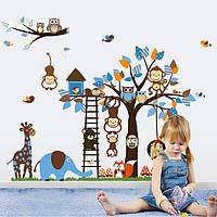 Інтер'єрна наклейка на стіну в дитячу Дружні Звірята / Интерьерная наклейка на стену в детскую Дружные Зверята, фото 1