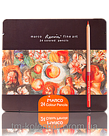 "Карандаши ""Marco"" 24 цвета FineArt-24-TN металлическая коробка Кедр"