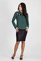 Стильный женский пиджак с эксклюзивным украшением ручной работы зеленый