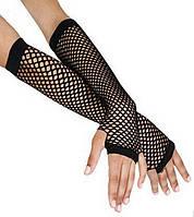 Перчатки сетка без пальцев до локтя черные