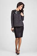 Стильный женский пиджак с эксклюзивным украшением ручной работы чёрный