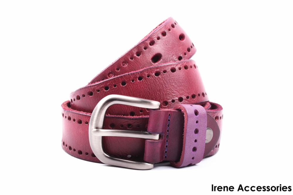 Стилный женский ремень Guofend цвет фиолетовый, натуральная кожа (длина 110 см, ширина 3 см)