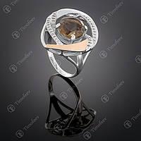 Серебряное кольцо с раухтопазом и фианитами. Артикул П-194