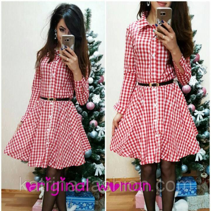 Женское стильное платье-рубашка в клетку (4 цвета)  продажа 6403596228c01