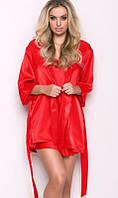 Атласный халат с пеньюаром красный