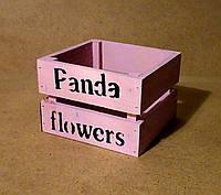 Ящик деревянный под цветы, розовый, 12х12х9 см , фото 1