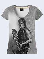 Оригинальная футболка Daryl Dixon с ярким принтом/рисунком известного фильма из легкой ткани на лето.