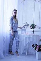 Женская хлопковая пижама с длинным рукавом. Размеры S M L