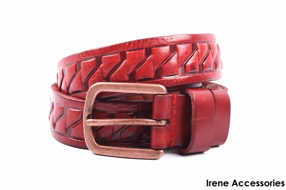 Кожаный ремень женский красный длина 105 см, ширина 3 см