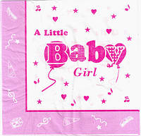 """Салфетки бумажные праздничные сервировочные """"Baby Girl"""""""