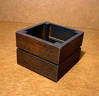 Ящик деревянный под цветы, оранжевый с черным, 12х12х9 см , фото 1