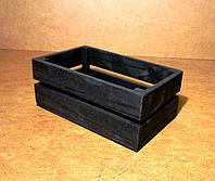 Ящик деревянный под цветы, черный, 20х12х9,5 см, фото 1