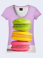"""Женская летняя футболка с 3D рисунком """"Вкусные макаруны/маффины"""", модель 2017 года"""