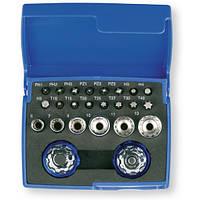 """Набор головок и бит 1/4"""" с двумя пальчиковыми трещотками, в пластиковом кейсе, 24 шт."""