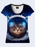 """3D женская футболка с ярким рисунком """"Котик в скафандре"""" синего цвета из легкой ткани от 48 до 50 размера."""