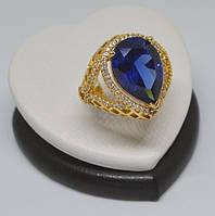 Шикарное кольцо-перстень с синим цирконом покрытие золотом