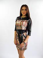 Платье с кожанными вставками