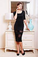 Коктейльное черное платье с гипюром
