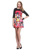Женское короткое платье с принтом