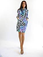 Полубатальное женское платье для офиса