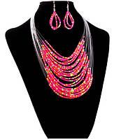 Комплект Африка розовый/серьги и колье/бижутерия/цвет розовый