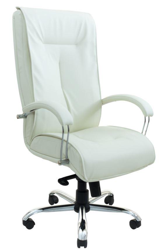 Кресло Бостон Хром мех., Tilt кожзам Флай 2200 белый. (Подлокотники Люкс)