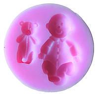 """Силиконовый молд для мастики, полимерной глины """"Младенец и мишка"""""""