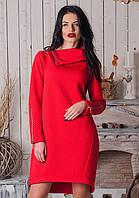 Теплое красное платье с воротником-стойкой