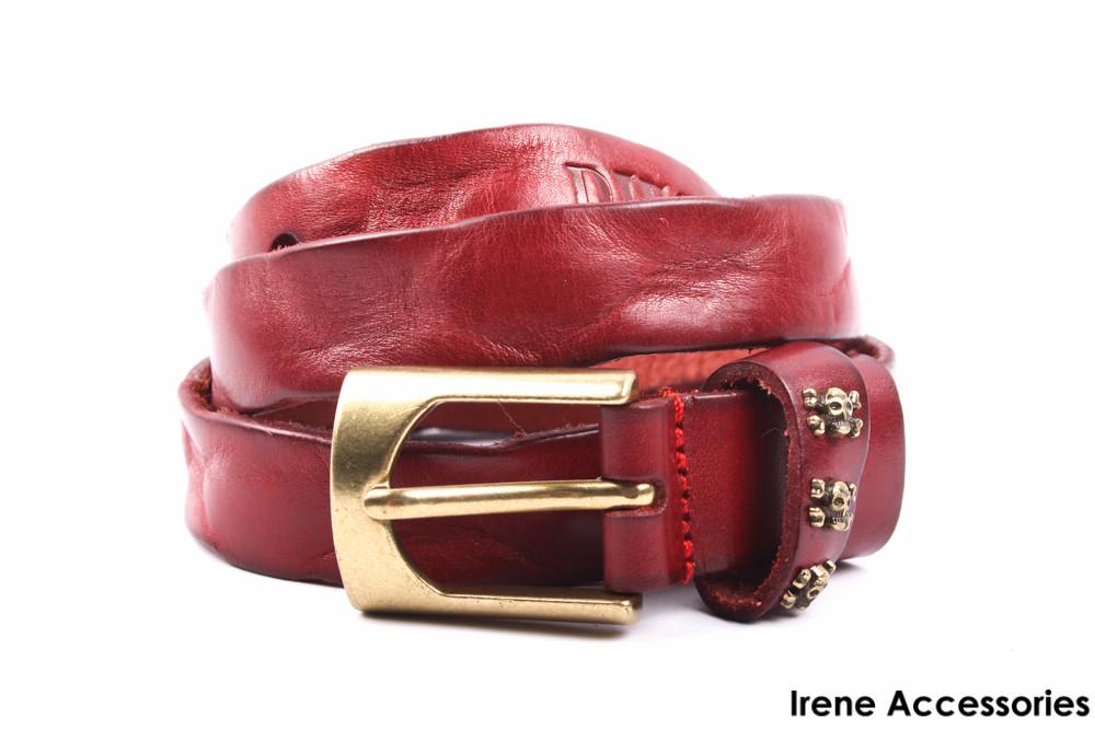 Ремень кожаный Diesel красный (длина 110 см, ширина 2,5 см)