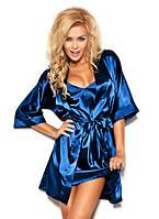Атласный халат с пеньюаром синий