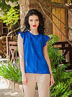 Нарядная синяя шифоновая блузка