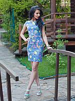 Нарядное женское платье из жаккарда с цветочным узором