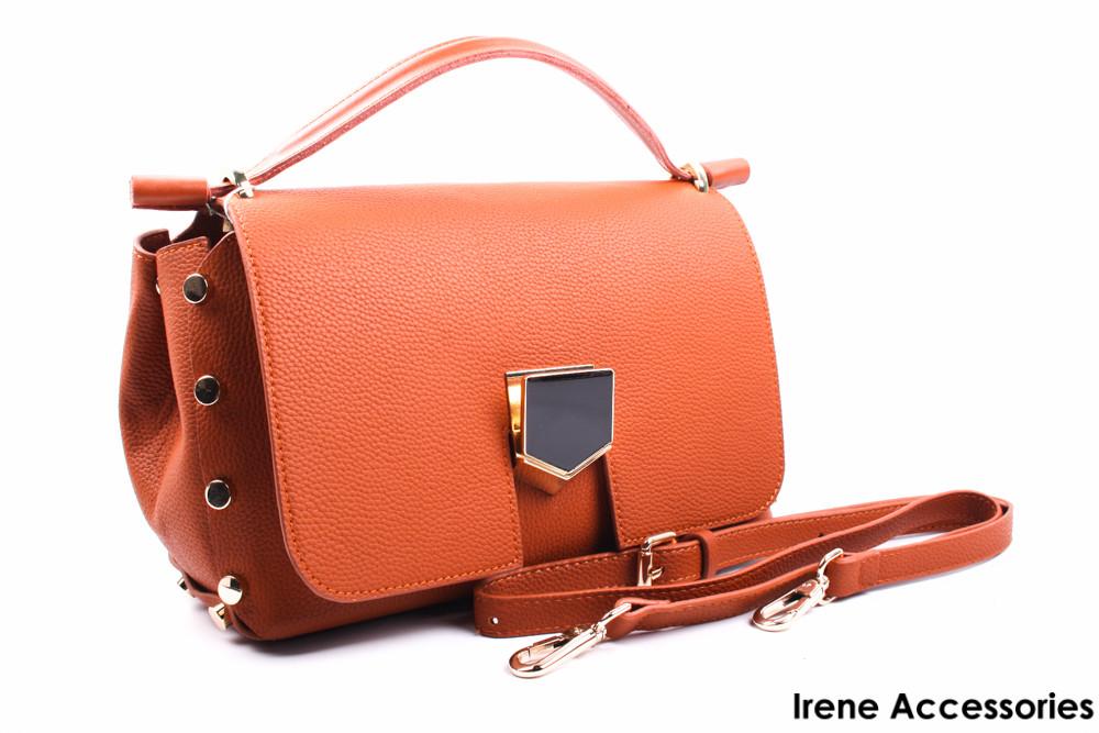 Стильная сумочка Dior с заклепками цвет рыжий, эко-кожа