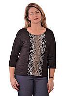 Свитшот трикотажный блуза с кружевом черная Бл 017