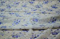 Тюль вуаль мелкие розочки синий