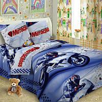 Комплект детского постельного белья  Мотокросс в детскую кроватку поплин