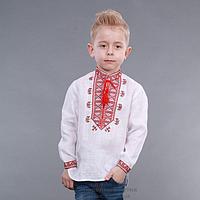"""Детская вышиванка для мальчика """"Гетьман"""" (красный орнамент)"""