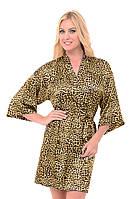 Атласный халат с пеньюаром леопардовый