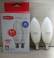Светодиодная лампа Maxus 6W Е14 C37 свеча Акция! (2 шт. в 1 уп.) 2-LED-534
