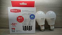 Светодиодная лампа Maxus 6W шар E27 Акция! (2в1)