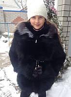 Шуба подростковая из натурального меха лисы окрашенного в чёрный цвет 70 см