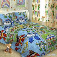 Комплект детского постельного белья  Поли Робокар  в детскую кроватку поплин