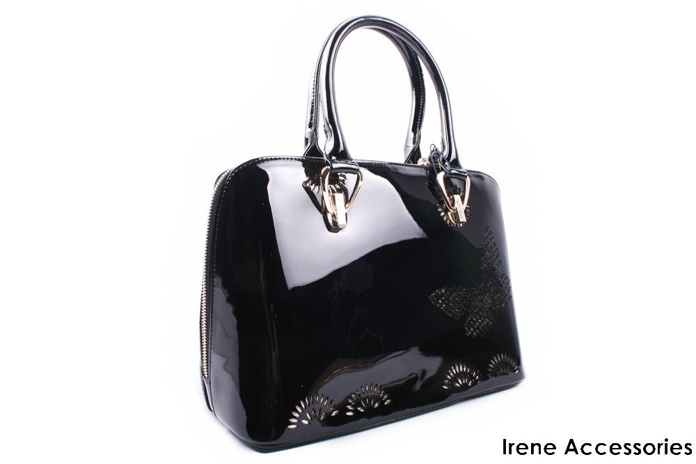 Модельная лаковая сумочка ShengKasiLu черная, эко-кожа
